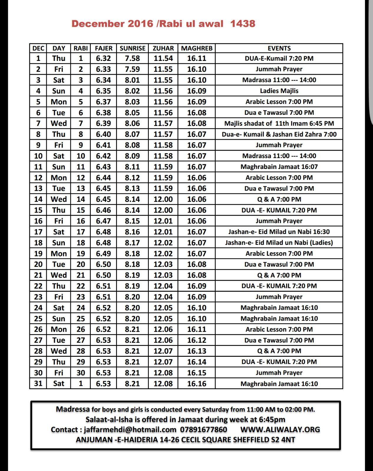 December Timetable