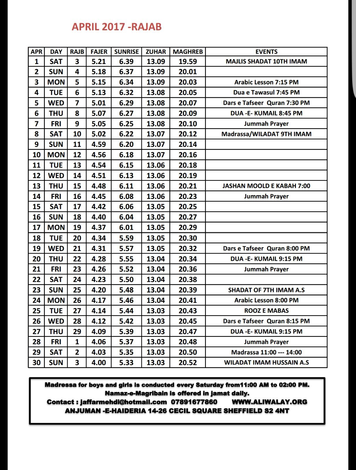 April Salaat Timetable