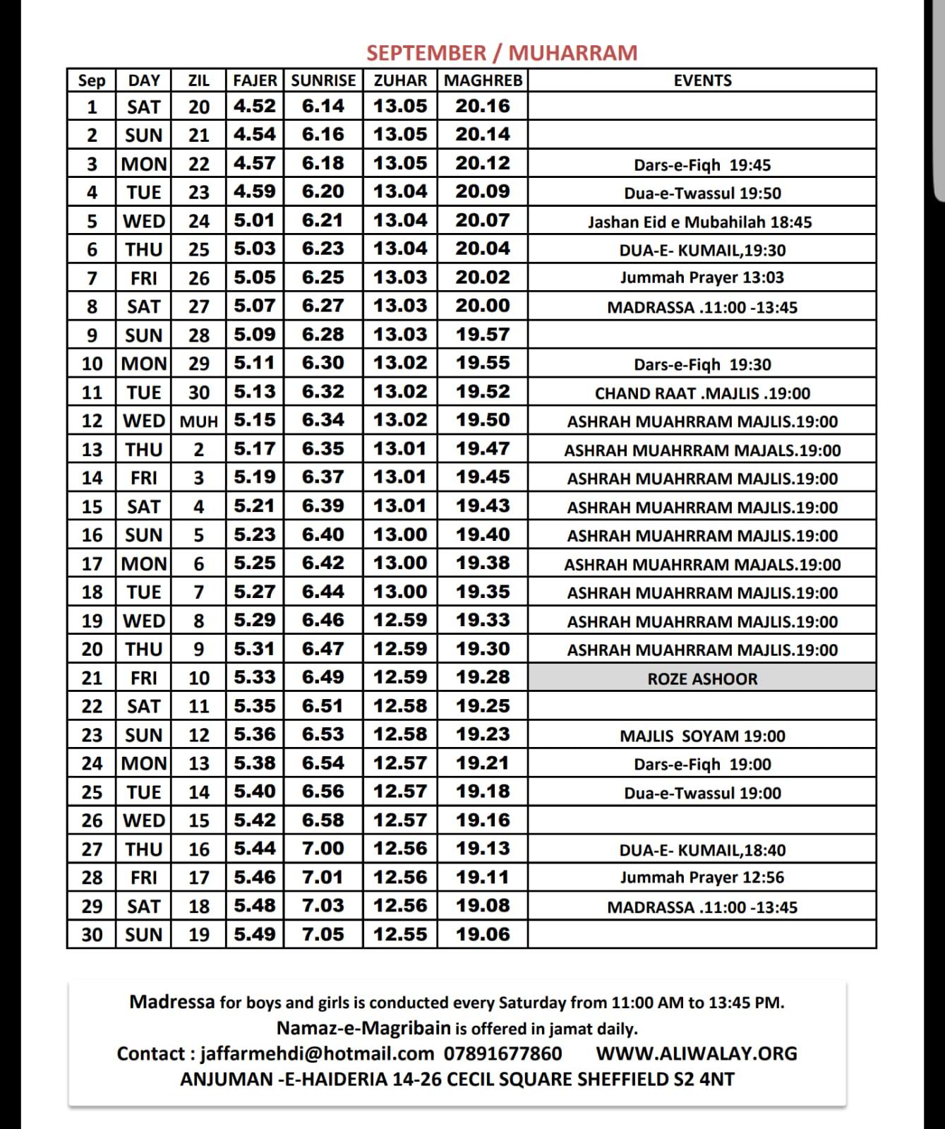 SEPTEMBER_Timetable